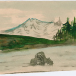 Painting of lake and mountain scene