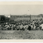 Outdoor stage at the Gila River incarceration camp