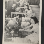 Photograph of women in production line, bucket-like machine in front of them, basket slats piled next to worker