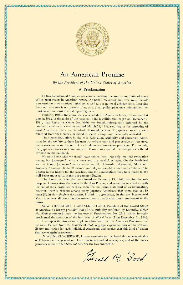 "President Gerald Ford's Proclamation 4417, ""An ... (en ..."